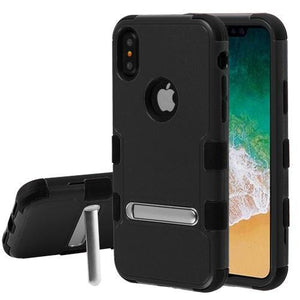 AMZER® TUFFEN Hybrid Protector Cover With Magnetic Metal Stand - Black/Black for iPhone X