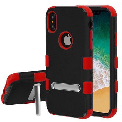 AMZER® TUFFEN Hybrid Protector Cover With Magnetic Metal Stand - Black/Red for iPhone X