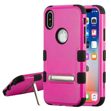 AMZER® TUFFEN Hybrid Protector Cover With Magnetic Metal Stand - Hot Pink/Black for iPhone X