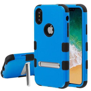 AMZER® TUFFEN Hybrid Protector Cover With Magnetic Metal Stand - Blue/Black for iPhone X