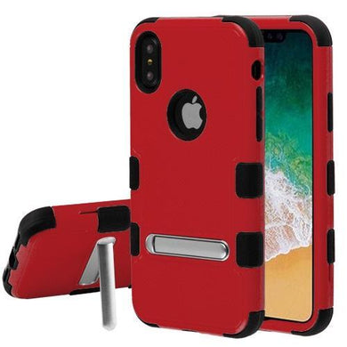 AMZER® TUFFEN Hybrid Protector Cover With Magnetic Metal Stand - Red/Black for iPhone X