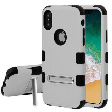 AMZER® TUFFEN Hybrid Protector Cover With Magnetic Metal Stand - Natural Gray/Black for iPhone X