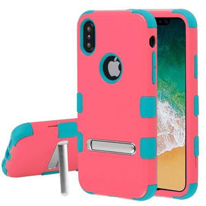 AMZER® TUFFEN Hybrid Protector Cover With Magnetic Metal Stand - Baby Red/Tropical Teal for iPhone X