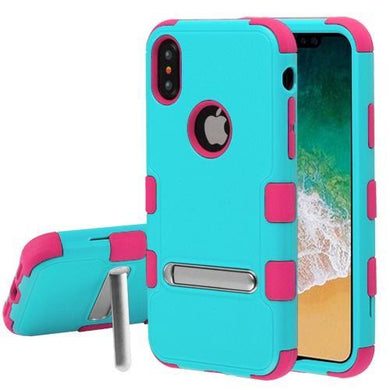AMZER® TUFFEN Hybrid Protector Cover With Magnetic Metal Stand - Teal Green/Electric Pink for iPhone X