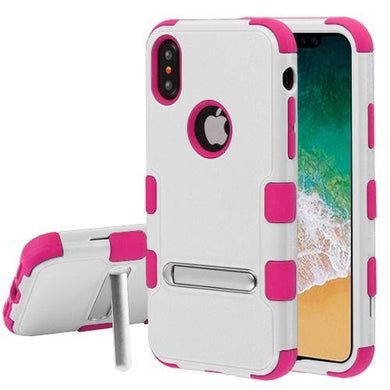 AMZER® TUFFEN Hybrid Protector Cover With Magnetic Metal Stand - Cream White/Hot Pink for iPhone X