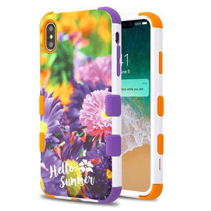 AMZER® TUFFEN Hybrid Phone Case Protector Cover - Chrysanthemum Field Orange/Purple for iPhone Xs Max