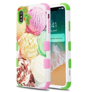 AMZER® TUFFEN Hybrid Phone Case Protector Cover - Ice Cream Scoops/Green & Pink for iPhone Xs Max