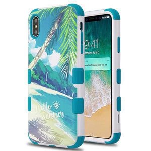 AMZER® TUFFEN Hybrid Phone Case Protector Cover - Palm Beach/Tropical Teal for iPhone Xs Max
