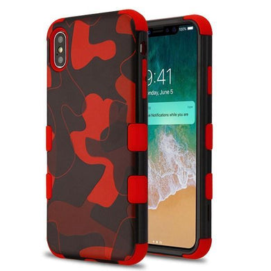 AMZER® TUFFEN Hybrid Phone Case Protector Cover - Red Camouflage/Red for iPhone Xs Max