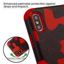 Load image into Gallery viewer, AMZER® TUFFEN Hybrid Phone Case Protector Cover - Red Camouflage/Red for iPhone Xs Max