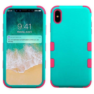 AMZER® TUFFEN Hybrid Phone Case Protector Cover - Teal Green/Pink for iPhone Xs Max