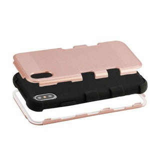 AMZER Brushed Hybrid Protector Cover - Rose Gold/Black for iPhone X