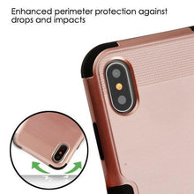 Load image into Gallery viewer, AMZER Brushed Hybrid Protector Cover - Rose Gold/Black for iPhone X