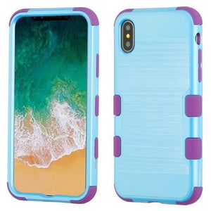 AMZER Brushed Hybrid Protector Cover - Baby Blue/Purple for iPhone X