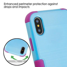 Load image into Gallery viewer, AMZER Brushed Hybrid Protector Cover - Baby Blue/Purple for iPhone X