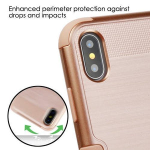 AMZER Brushed Hybrid Protector Cover - Rose Gold/Rose Gold for iPhone X