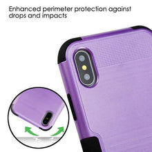 Load image into Gallery viewer, AMZER Brushed Hybrid Protector Cover - Purple/Black for iPhone X