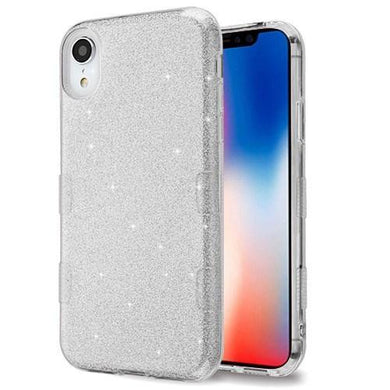 AMZER® TUFFEN Full Glitter Hybrid Protector Cover - Silver for iPhone Xr