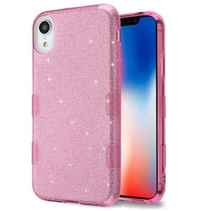 AMZER® TUFFEN Full Glitter Hybrid Protector Cover - Pink for iPhone Xr