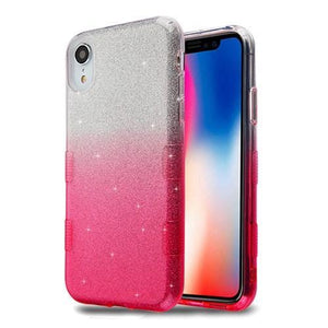 AMZER® TUFFEN Full Glitter Hybrid Protector Cover - Pink Gradient for iPhone Xr