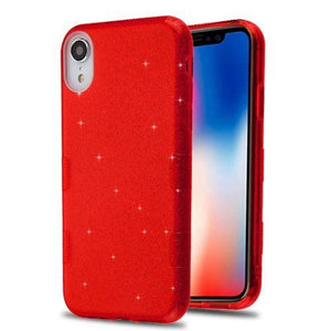 AMZER® TUFFEN Full Glitter Hybrid Protector Cover - Red for iPhone Xr