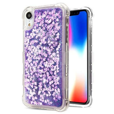 AMZER® Hybrid Quicksand Glitter Protector Cover - Purple Hearts for iPhone Xr