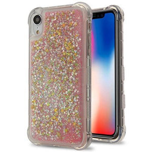 AMZER® Hybrid Quicksand Glitter Protector Cover - Pink Stars for iPhone Xr