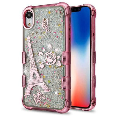 AMZER® Hybrid Quicksand Glitter Protector Cover - Rose Gold Electroplating/Eiffel Tower/Silver Spark for iPhone Xr