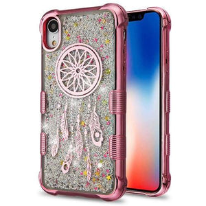 AMZER® Hybrid Quicksand Glitter Protector Cover - Rose Gold Electroplating/Dreamcatcher/Silver Spark for iPhone Xr