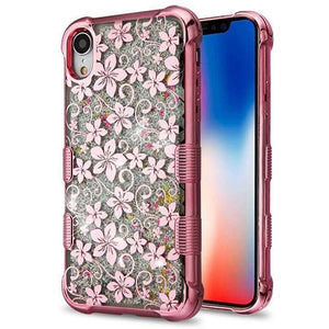 AMZER® Hybrid Quicksand Glitter Protector Cover - Rose Gold Electroplating/Hibiscus Flower/Silver Sp for iPhone Xr