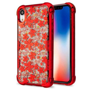 AMZER® Hybrid Quicksand Glitter Protector Cover - Red Electroplating/Hibiscus Flower/Silver Sparkles for iPhone Xr