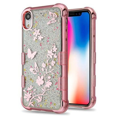 AMZER® Hybrid Quicksand Glitter Protector Cover - Rose Gold Electroplating/Butterflies/Silver Spark for iPhone Xr