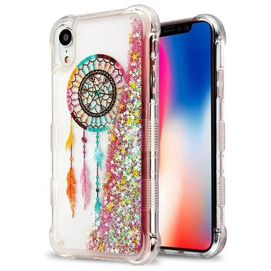AMZER® Hybrid Quicksand Glitter Protector Cover - Dreamcatcher/Gold Stars for iPhone Xr