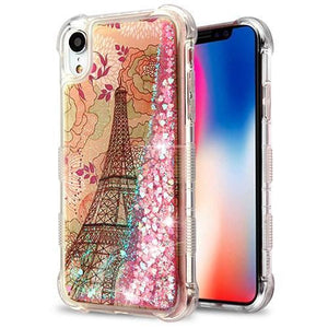 AMZER® Hybrid Quicksand Glitter Protector Cover - Eiffel Tower/Pink Hearts for iPhone Xr