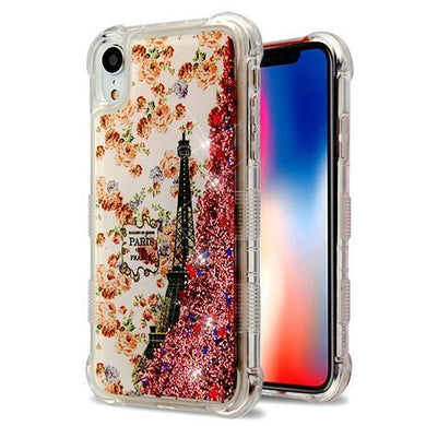 AMZER® Hybrid Quicksand Glitter Protector Cover - Paris in Full Bloom/Rose Gold Flowing Sparkles for iPhone Xr