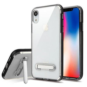 AMZER® Hybrid Protector Cover With Magnetic Metal Stand - Black/Clear for iPhone Xr