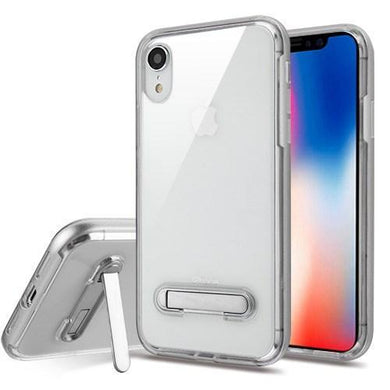AMZER® Hybrid Protector Cover With Magnetic Metal Stand - Silver/Clear for iPhone Xr
