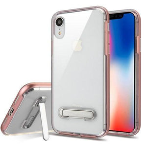 AMZER® Hybrid Protector Cover With Magnetic Metal Stand - Rose Gold/Clear for iPhone Xr