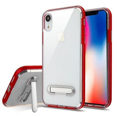 AMZER® Hybrid Protector Cover With Magnetic Metal Stand - Red/Clear for iPhone Xr