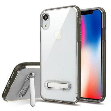 AMZER® Hybrid Protector Cover With Magnetic Metal Stand - Grey/Clear for iPhone Xr