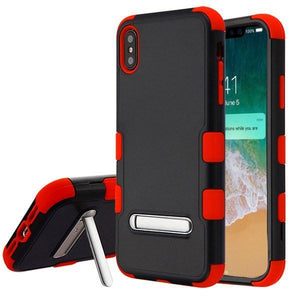 AMZER® TUFFEN Hybrid Protector Cover With Magnetic Metal Stand - Black/Red for iPhone Xs Max