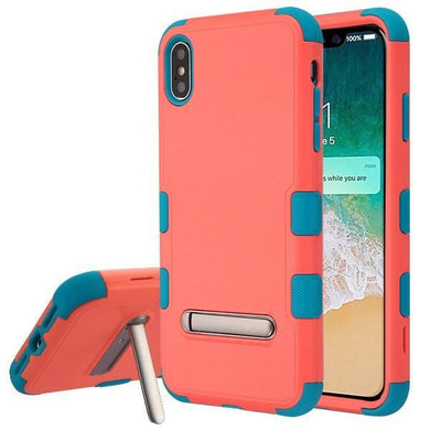AMZER® TUFFEN Hybrid Protector Cover With Magnetic Metal Stand - Baby Red/Tropical Teal for iPhone Xs Max