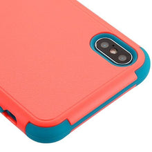 Load image into Gallery viewer, AMZER® TUFFEN Hybrid Protector Cover With Magnetic Metal Stand - Baby Red/Tropical Teal for iPhone Xs Max