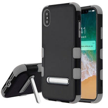 Load image into Gallery viewer, AMZER® TUFFEN Hybrid Protector Cover With Magnetic Metal Stand - Black/Gray for iPhone Xs Max