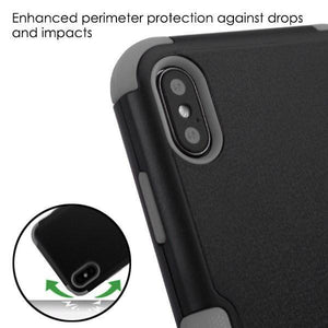 AMZER® TUFFEN Hybrid Protector Cover With Magnetic Metal Stand - Black/Gray for iPhone Xs Max
