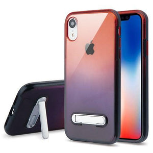 AMZER® Hybrid Protector Cover With Magnetic Metal Stand - Black/Red and Black for iPhone Xr
