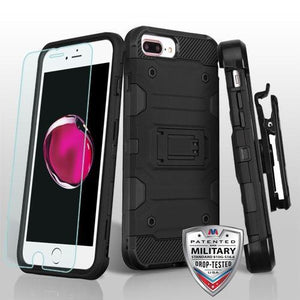 AMZER 3in1 Ballistic Hybrid Protector Cover Combo With Tempered Glass for iPhone 6 Plus