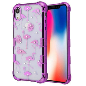 AMZER® TUFFEN Candy TPU Skin Cover -Purple Flamingo for iPhone Xr