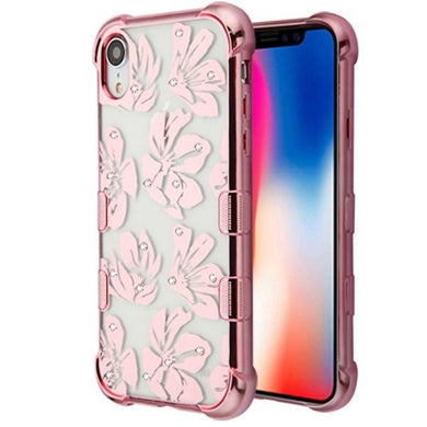 AMZER® TUFFEN Candy TPU Skin Cover -Rose Gold Plating & Magnolia for iPhone Xr