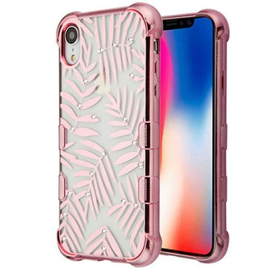 AMZER® TUFFEN Candy TPU Skin Cover -Rose Gold Plating & Dancing Palm Leaves for iPhone Xr